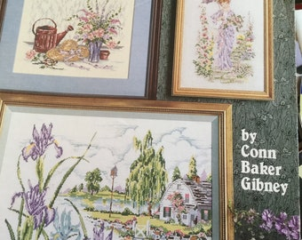 Vintage counted cross stitch leaflet- COUNTRY GARDENS by American School of Needlework