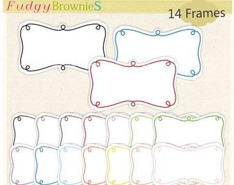ON SALE Digital frame,doodle digital frame,bright colour digital scrapbooking frames,kids doodle frame,blue,pink,black colour A-82,Instant d