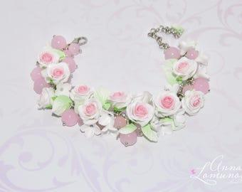 Rose Wedding Bracelet Flower Bridesmaid Bracelet Rose Bridesmaid Bracelet White Bridesmaid Bracelet Rose Bridal Bracelet Delicate bracelet