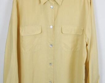 Vintage silk shirt, 90s clothing, light yellow, shirt 90s, long sleeves, oversized