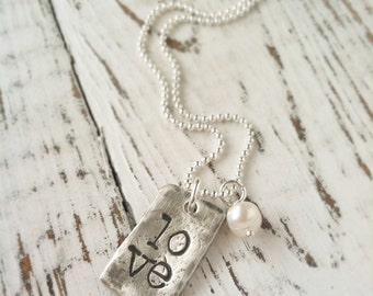 Love Jewelry . LOVE . Love Necklace . Custom Necklace . Pearl . Love Jewelry . Valentines Day . Personalized . Shay Designs