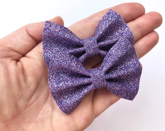 Purple Iridescent Glitter Felt Pigtail Hair Bow Set // Spring Easter Piggie Bows Hair Clips // Pigtail Bows Mini Bows Baby Toddler Bow