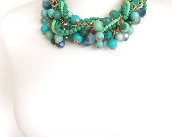 Chunky Green Beaded Twist Style Statement Necklace