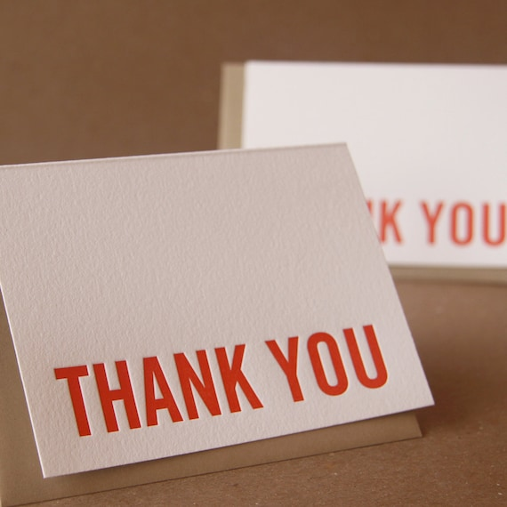 Letterpress Thank You Cards : Fire Red Modern Block Thank You Notes - box of 5 small folded cards w brown kraft colored envelopes
