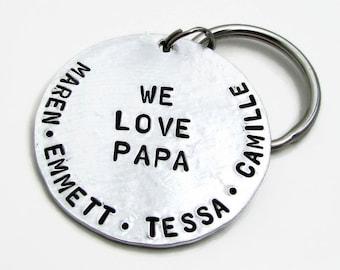 Personalized KeyChain, Dad Keychain, Stamped KeyChain, Personalized Father's Day Gift, Personalized Keychain, Personalized Gift for Grandpa