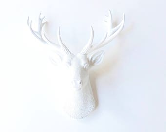 WHITE SMALL Deer Head Faux Taxidermy wall mount wall hanging  stag head white decor farm house decor Faux Taxidermy White Stag Head