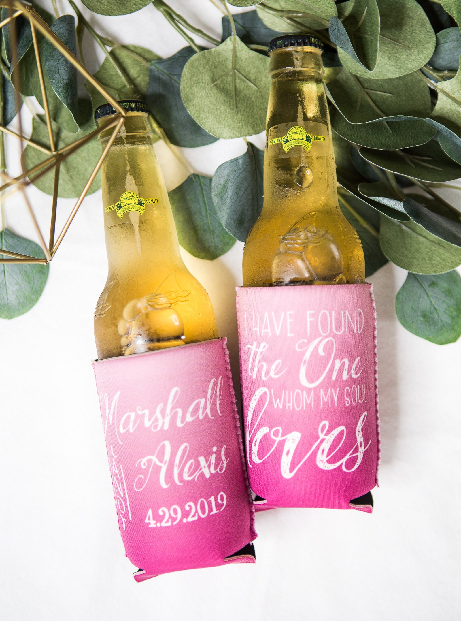 Wedding Favor Drink Holders Personalized Ombre Style Wedding