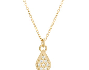 Diamond Necklace, 14K Gold and Canadian Diamonds, Diamond Teardrop Necklace, Gift for Her