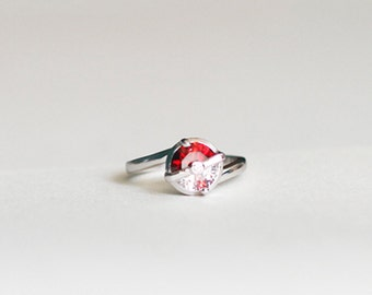 Pokeball ring inspired in Pokemon series, sterling 925 silver