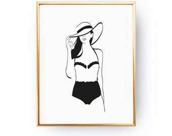 Beachsuit Print, Illustration Poster, Fashion Poster, Stylish Poster, Chic Bedroom, Home Decor, Modern Wall Art, Girly Decor, Fashion Girl