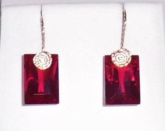 32 cts Natural Square Ruby Red Topaz gemstones, 14kt yellow gold Pierced Earrings