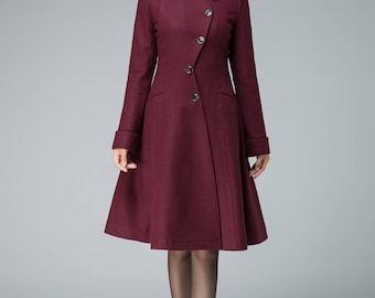 retro wool coat, coat jacket, wine red wool coat, wool coat, warm winter coat,  asymmetrical coat, womens coat, midi coat, winter coat 1844