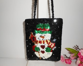 Holiday Evening Bag, Beaded Snowman, Evening Bag, Sparkly Purse, Holiday Evening Bag, Beaded Purse, Sequin Purse EB-0741