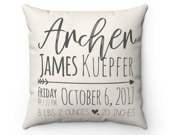 Personalized baby pillow etsy grey baby stat pillow personalized custom name pillow birth announcement pillow custom baby shower gift personalized new baby gift negle Choice Image