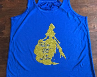 Beauty and the Beast- Belle flowy racerback tank top