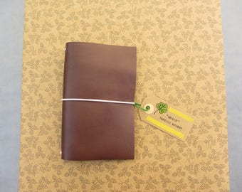 Handmade leather cover, fauxdori, travelers notebook. - Brown, all sizes.