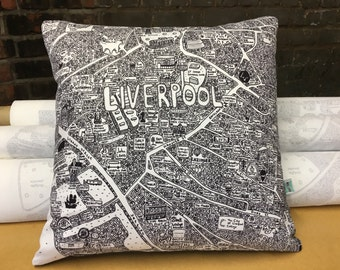 Liverpool Doodle Map Cushion