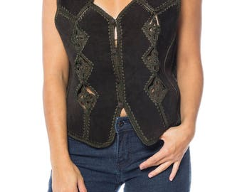 Pieced Suede Vest With Crochet Size: 40