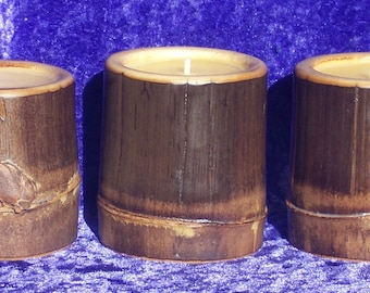 Black Bamboo Beeswax Candle