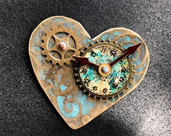 Vintage Style Heart Pin/Magnet w/70's Watch Parts and Turquoise Patina