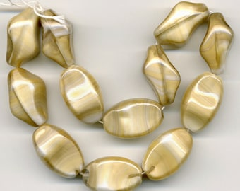 Vintage Beige & White Beads 24mm Opaque Glass Unusual Shape 12 Pcs.