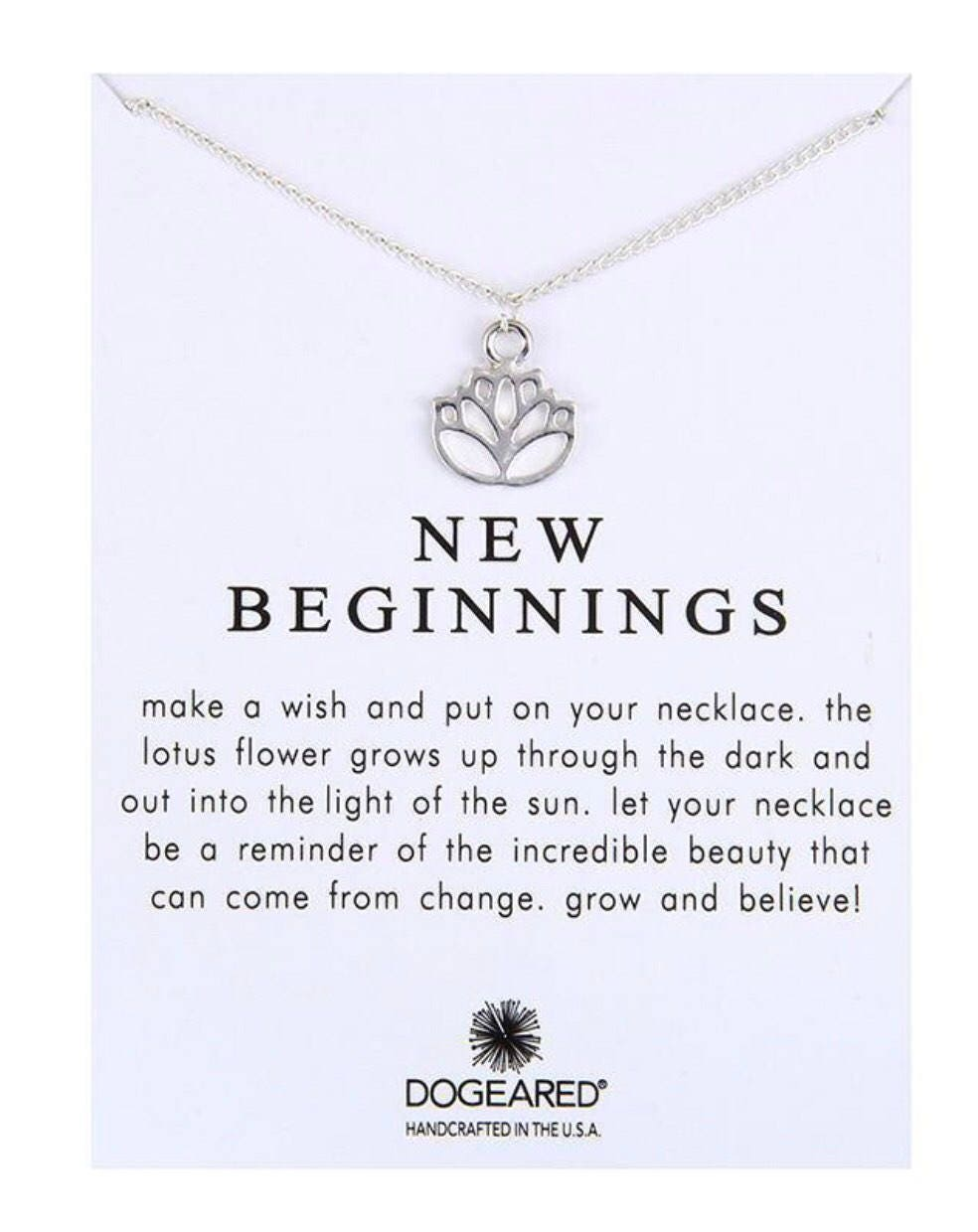 Lotus Blossom New Beginnings Necklace Silver