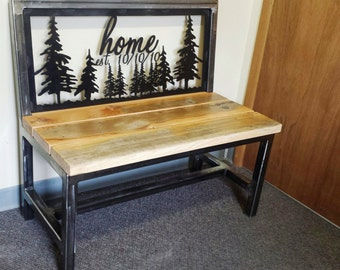Rustic Custom Entry Bench, Dining Bench, Kitchen Bench, Anniversary Bench Made of Recycled Steel and Reclaimed Wood Can Be Personalized