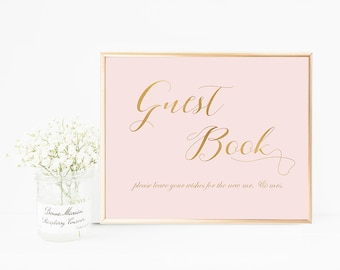 Pink Guest Book Wedding Sign, Please Sign Our Guest Book Sign, Blush Guest Book Sign Download, Wedding Guest Book Sign, Printable, Digital