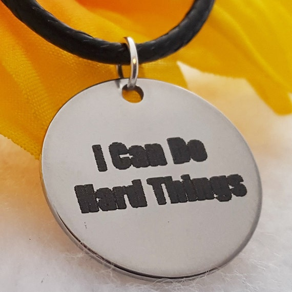 I Can Do Hard Things Charm Necklace, Crossfit Jewelry, CrossFit Necklace, Fitness Jewelry, Inspirational Quotes, Runner Team Coach Gifts