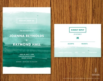 Cayman | Printable Wedding Invitation and RSVP Template | Instant Download