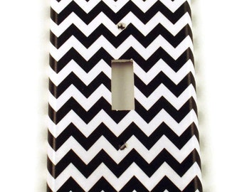 Light Switch Cover Wall Decor Switchplate Switch Plate in  Black Chevron  (150S)