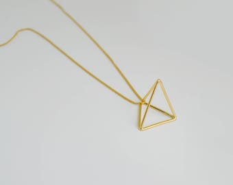Gold Tetrahedron Necklace | 3D Triangle Necklace | Geometric Pendant Necklace