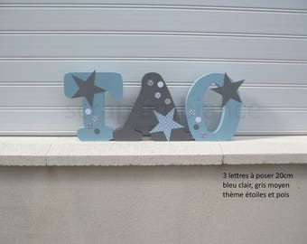 name wood, wooden initials, letter to be put, put name, personalized letters theme star