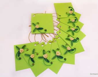 Quilled Birthday Gift Tags, Set of 10 Quilled Flower Tags, Green Gift Tag Set