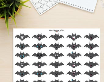 Bat Emoji Planner Stickers | Bats Stickers | Funny Bats | Emoji Stickers | Halloween Stickers | Mood Trackers (S-285)