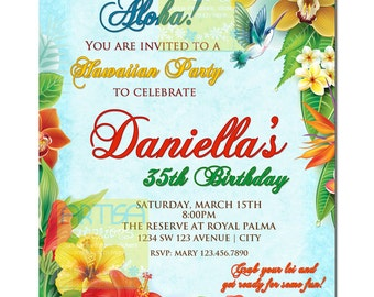 Hawaiian party invitation luau party hawaiian theme hawaiian birthday invitation hawaiian luau party hawaiian theme invitation for any occasion hawaiian bridal shower hawaiian party stopboris Image collections