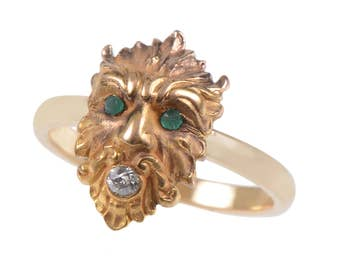 Greek God Diamond and Emerald Ring