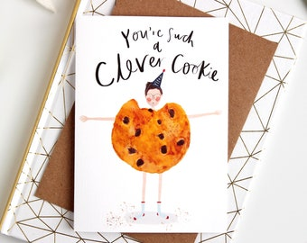 Clever Cookie Congratulations Graduation Card - Well done card, phd card, passing exams card, New Job card, Quirky card Katy Pillinger