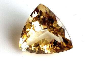 Citrine Trillion Cut Cabochons, Natural Citrine Faceted Cabochon, 14x14 mm, 8 Cts, Citrine Cut Stone, Loose Gemstone
