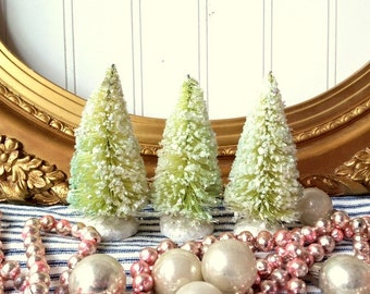 "3  bottle brush trees green vintage style mica glittered 4"" tree  Farmhouse Shabby Cottage Christmas Holiday decor"