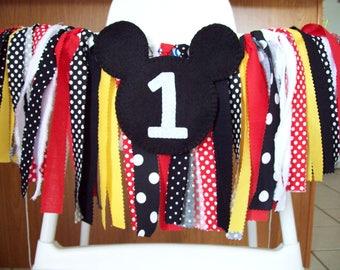 High chair Birthday Banner set ~photo prop ~1st Birthday ~Cake Smash Mickey ~Mickey theme ~rag tie garland rag tie banner gender neutral
