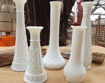 5 Milk Glass Bud Vases  ~  Instant Collection Milk Glass Bud Vases  ~  White Milk Glass Flower Vases  ~  Milk Glass Flower Vases