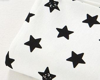 French Terry Knit stof schattig zwarte ster door de werf