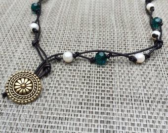 Long Teal and White Knotted Necklace