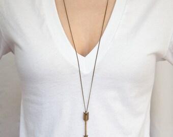 Arrow necklace: THE ARCHER in Bronze // Large Antique Bronze Arrow Pendant // Layered necklace // Extra Long necklaces // Bohemian Fringe