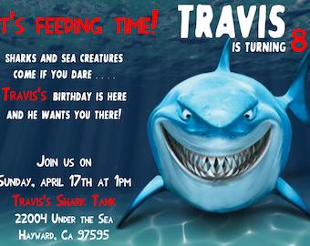 5x7 Shark Time Invitation