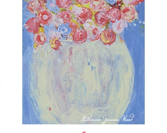 Pink & Blue Roses Flower Painting Print. Cottage Chic Decor. Floral Art Digital Print. Flower Wall Prints. 224