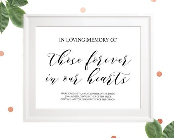 In loving Memory of Those Forever in our Hearts Custom Sign-Reserved Memorial Wedding Sign-Printable Wedding Memorial Sign-Calligraphy Style
