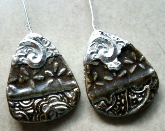 Ceramic Earrings Charms Pair with Decorative Tinwork - You Choose Metal Color - #a95