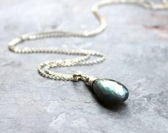 Labradorite Necklace Large Focal Stone, Sterling Silver Teardrop Faceted Blue Grey Gemstone Necklace